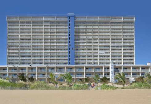 exterior of hotel on the beach