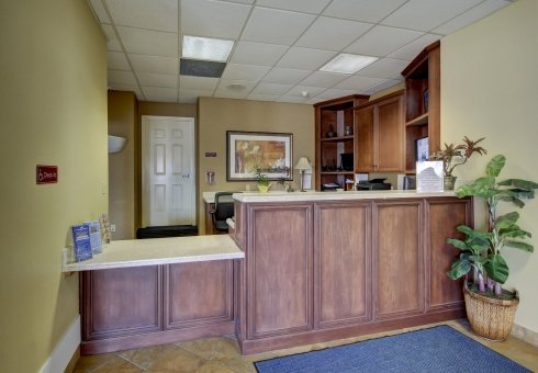 wood front desk area