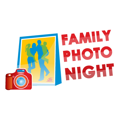 camera and image of family with 'Family Photo Night' text to the left