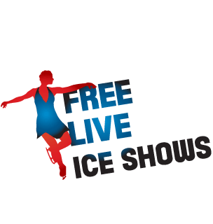 woman ice skating with Free Live Ice Shows to the left