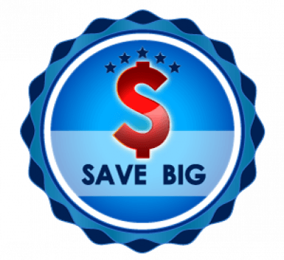 Money Sign with 'Save Big' inside blue circle