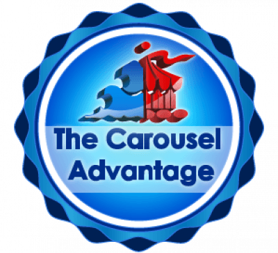 Carousel logo in blue circle
