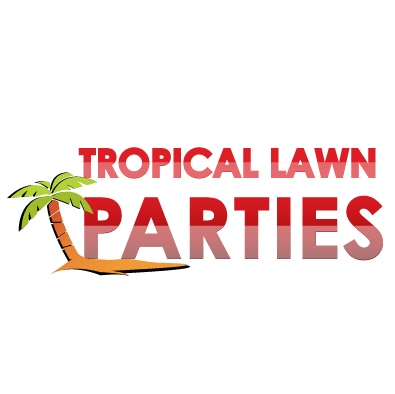 palm tree to the right of Tropical Lawn Parties text