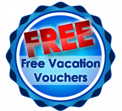 Free Vacation Vouchers text inside blue circle